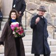 Carl  XVI  Gustaf  de Suède et la reine  Silvia  en visite dans la ville de Kalmar  , dans le comté de Kalmar, à l'occasion du jubilé du roi, le 5 mars 2013.
