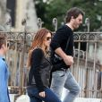 Poppy Montgomery et son boyfriend Shawn Sanford à Paris, le 23 septembre 2012.