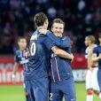 Zlatan Ibrahimovic et David Beckham lors de PSG-Nancy (2-1) au Parc des Princes a Paris le 9 mars 2013.