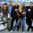 Frédéric Diefenthal, Samy Naceri, Gerard Krawczyk, Edouard MOntoute et Luc Besson à Marseille pour la présentation de Taxi 3 le 25 janvier 2003