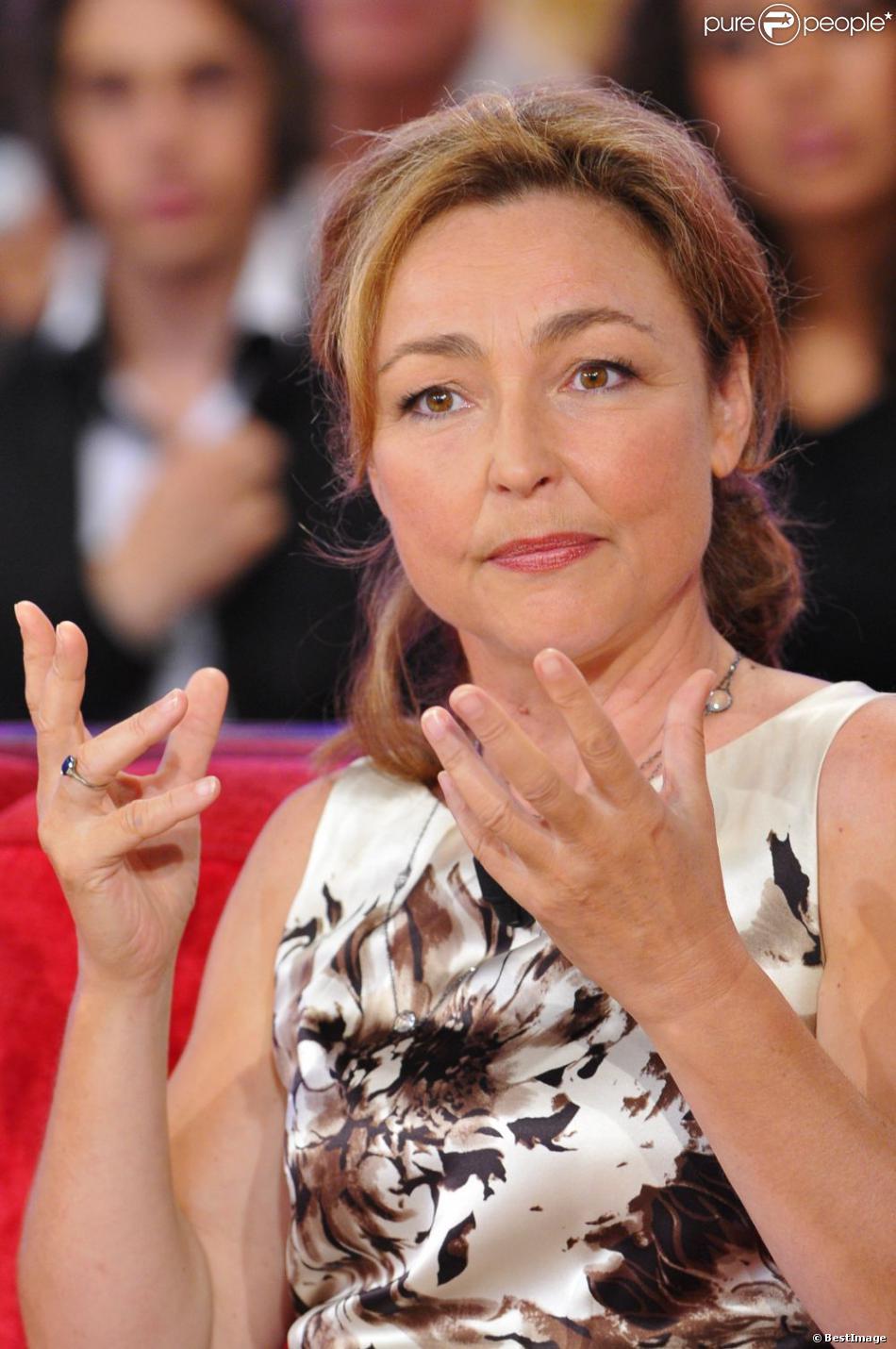 Catherine Frot lors de l'enregistrement Vivement dimanche le 5 septembre 2012
