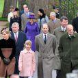 Sophie de Wessex et la famille royale lors de la messe de Noël à Sandringham le 25 décembre 2012