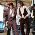 Jeremy Renner et Christian Bale sur le tournage du film Abscam à Lynn, le 8 avril 2013.