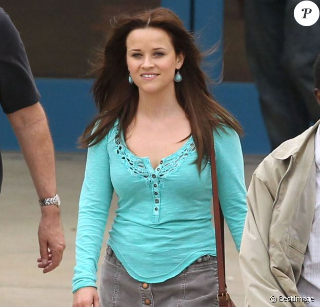 Exclusif - La jolie Reese Witherspoon sur le tournage de The Good Lie à Atlanta, le 11 avril 2013.