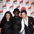 Exclusif - Will.I.Am rencontre Zayra Setouty et Sidoine Remy de la Star Academy d'NRJ 12 lors de l'emission de Sebastien Cauet sur NRJ a Paris, le 17 avril 2013.