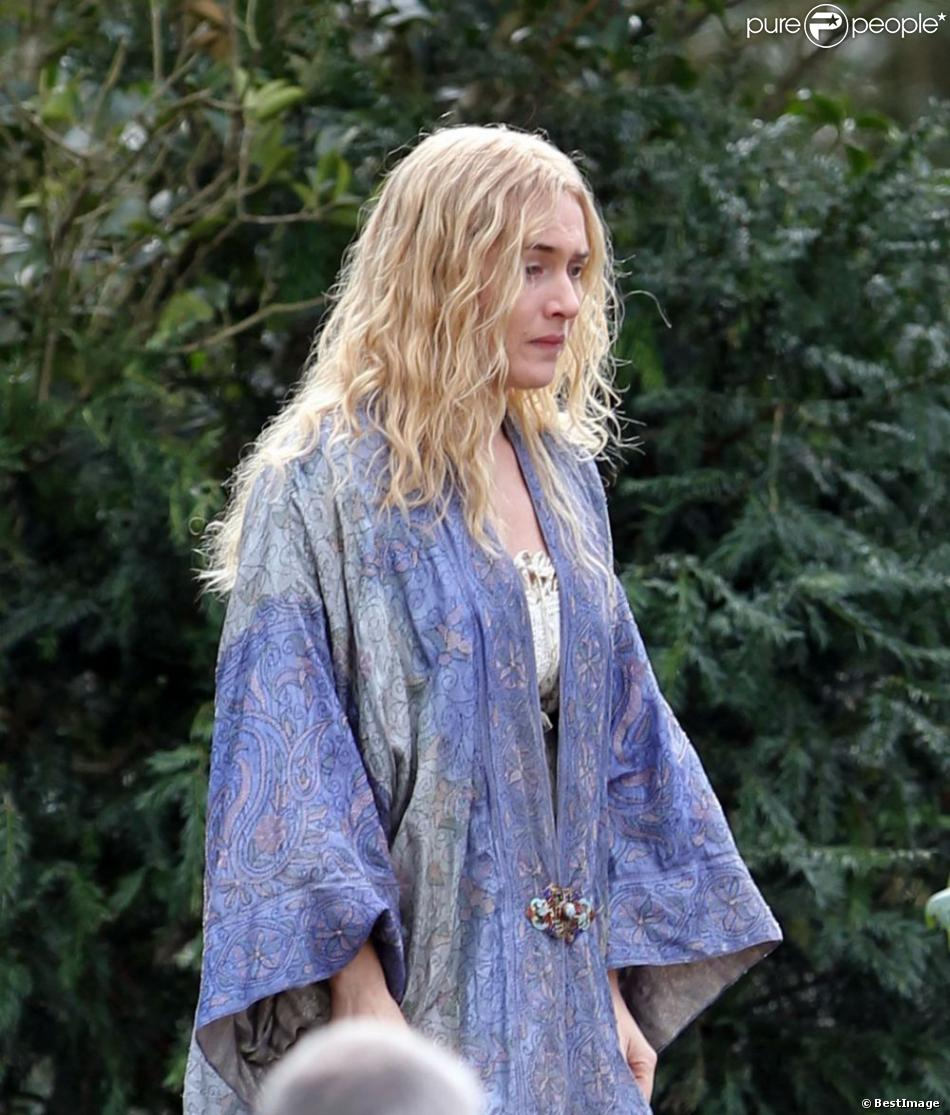 """Exclusif - Kate Winslet sur le tournage du film """"A Little Chaos"""" réalisé par Alan Rickman dans les environs de Londres, le 16 avril 2013"""