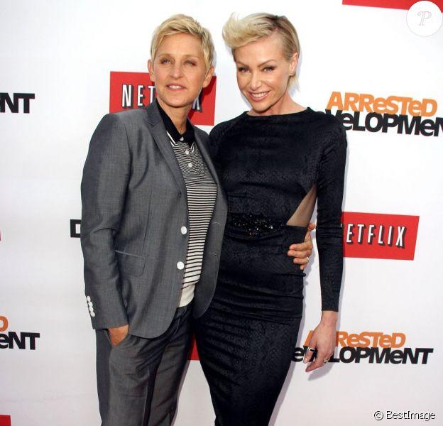 Ellen DeGeneres, Portia de Rossi à la soirée de présentation  par le site Netflix de la saison 4 de Arrested Development à Hollywood, le 29 avril 2013.