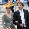La princesse Aimée, enceinte de 6 mois, et le prince Floris d'Orange-Nassau arrivent à la Nouvelle Eglise d'Amsterdam pour la prestation de serment du roi Willem-Alexander des Pays-Bas, le 30 avril 2013.