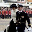 Le prince Maurits d'Orange-Nassau en uniforme de la Marine néerlandaise et la princesse Marilène aux obsèques du prince Bernhard en décembre 2004.