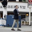 Chris O'Neill, fiancé de la princesse Madeleine de Suède, aux abords du Grand Hotel de Stockholm le 18 mai 2013, où sa mère est descendue pour assister le lendemain à la publication des bans.