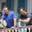 Exclusif - Matthew McConaughey et le footballeur américain Drew Brees lors d'un événement caritatif pour l'association de l'acteur, Just Keep Livin', à la Nouvelle-Orleans, le 17 mai 2013.