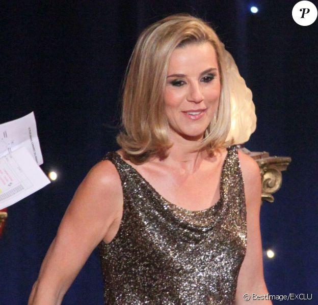 Laurence Ferrari lors de l'enregistrement de la 150e émission Le plus grand cabaret du monde, le 14 mai qui sera diffusée le 22 juin 2013
