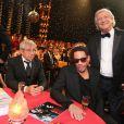 Michel Boujenah, Joey Starr et Patrick Sebastien lors de l'enregistrement de la150e emission Le plus grand cabaret du monde, le 14 mai qui sera diffusée le 22 juin 2013.