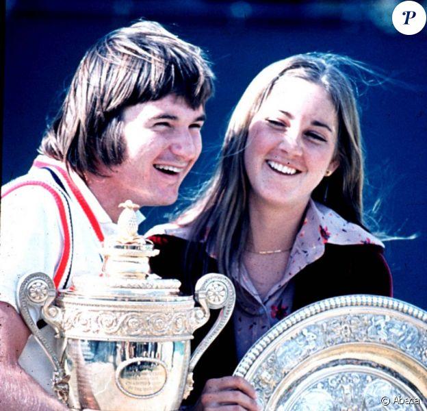Chris Evert et Jimmy Connors au All England Lawn Tennis Club de Wimbledon le 6 juillet 1974