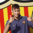Neymar lors de sa signature au FC Barcelone, le 3 juin 2013.