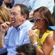 Jean-Pierre Pernaut, Nathalie Marquay et leur fils lors du onzième jour des Internationaux de France à Roland-Garros le 5 juin 2013