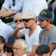 Leonardo Dicaprio, Lukas Haas et Nasser Al-Khelaïfi lors du onzième jour des Internationaux de France à Roland-Garros, le 5 juin 2013
