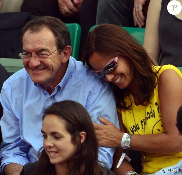 Jean-Pierre Pernaut et sa femme Nathalie Marquay lors du onzième jour des Internationaux de France à Roland-Garros, le 5 juin 2013