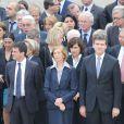 Manuel Valls, Nicole Bricq, Marie Arlette Carlotti et Arnaud Montebourg lors de l'hommage de la Nation à Pierre Mauroy, le 11 juin 2013 aux Invalides à Paris