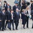 Lionel Jospin, Martine Aubry, Jacques Delors et sa femme lors de l'hommage de la Nation à Pierre Mauroy, le 11 juin 2013 aux Invalides à Paris