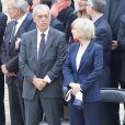 Henri Emmanuelli, Elisabeth Guigou lors de l'hommage de la Nation à Pierre Mauroy, le 11 juin 2013 aux Invalides à Paris