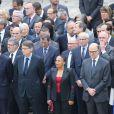 Vincent Peillon, Christiane Taubira, Pierre Moscovici lors de l'hommage de la Nation à Pierre Mauroy, le 11 juin 2013 aux Invalides à Paris