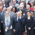 Delphine Batho, Michel Sapin, Aurélie Filippetti lors de l'hommage de la Nation à Pierre Mauroy, le 11 juin 2013 aux Invalides à Paris