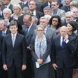 Arnaud Montebourg, Delphine Batho, Michel Sapin lors de l'hommage de la Nation à Pierre Mauroy, le 11 juin 2013 aux Invalides à Paris