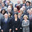 Michel Sapin, Fleur Pellerin, Aurelie Filippetti, Genevieve Fioraso lors de l'hommage de la Nation à Pierre Mauroy, le 11 juin 2013 aux Invalides à Paris