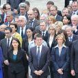 Benoit Hamon, Cecile Duflot, Manuel Valls, Nicole Bricq lors de l'hommage de la Nation à Pierre Mauroy, le 11 juin 2013 aux Invalides à Paris