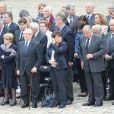 Robert Badinter, Jacques Delors et sa femme, Martine Aubry lors de l'hommage de la Nation à Pierre Mauroy, le 11 juin 2013 aux Invalides à Paris