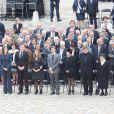 Gilberte Mauroy et sa famille lors de l'hommage de la Nation à Pierre Mauroy, le 11 juin 2013 aux Invalides à Paris