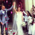 Rachel Legrain-Trapani et Aurélien Capoue, superbes et amoureux, lors de leur mariage le 8 juin 2013 près de Nantes.