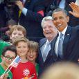 Barack Obama et le président Joachim Gauck rendent visite à des enfants de l'école John F. Kennedy. Le 19 juin 2013 à Berlin.