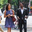 Rosario Dawson avec Chris Rock sur le tournage de Finally Famous à New York, le 27 Juin 2013.