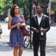 Rosario Dawson, avec une nouvelle coupe de cheveux, et Chris Rock sur le tournage de Finally Famous à New York, le 27 Juin 2013.