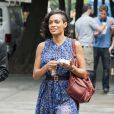 Rosario Dawson sur le tournage de Finally Famous à New York, le 27 Juin 2013.