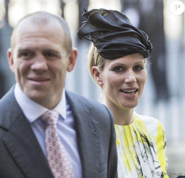Zara Phillips et Mike Tindall à Westminster le 4 juin 2013 lors du service pour le 60e anniversaire du couronnement de la reine Elizabeth II. Buckingham Palace a annoncé le 8 juillet que le couple attend un bébé, son premier enfant, pour le début d'année 2014.