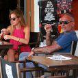 Exclusif - Christian Audigier et sa fiancée Nathalie Sorensen en vacances à Ibiza le 8 juillet 2013.