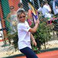 Priscilla au tournoi de tennis de l'association Enfant star et match à Juan les Pins, le 9 juillet 2013.
