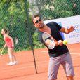 Gilles Luka (Ocean Drive) au tournoi de tennis de l'association Enfant star et match à Juan les Pins, le 9 juillet 2013.