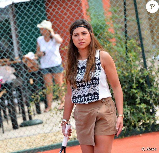 Leslie au tournoi de tennis de l'association Enfant star et match à Juan les Pins, le 9 juillet 2013.