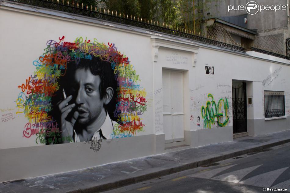 Anthony Lemer, jeune artiste clermontois, a eu le privilège de réaliser une grande fresque d'après une photographie de Tony Frank, sur le mur de la maison de Serge Gainsbourg, rue de Verneuil à Paris, le 18 juillet 2013.