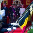 Le roi Philippe, la reine Mathilde, le roi Albert II et la reine Paola de belgique - la famille royale de Belgique assite à la parade militaire à Bruxelles, le 21 juillet 2013.