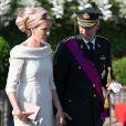 Le roi Philippe et la reine Mathilde de Belgique - la famille royale de Belgique assite à la parade militaire à Bruxelles, le 21 juillet 2013.
