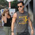 Jennifer Aniston et Justin Theroux croisés à Chelsea, New York, le 20 juillet 2013.