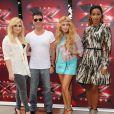 Demi Lovato, Simon Cowell, Paulina Rubio et Kelly Rowland, juges de la nouvelle saison de The X Factor. Los Angeles, le 11 juillet 2013.