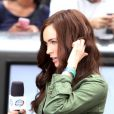 Megan Fox prête sur le tournage de Teenage Mutant Ninja Turtle à Times Square, New York, le 22 juillet 2013.