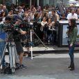 Megan Fox en action sur le tournage de Teenage Mutant Ninja Turtle à Times Square, New York, le 22 juillet 2013.