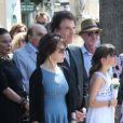 Jack Lang, sa femme Monique, leur fille Caroline et leur familleaux obsèques de Valérie Lang au cimetière de Montparnasse à Paris le 25 juillet 2013